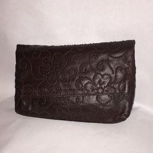 Poppie Coffee brown vegan leather foldover clutch